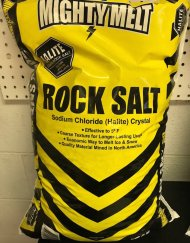 bagged-rock-salt available from suburban landscape supply in yellow bags